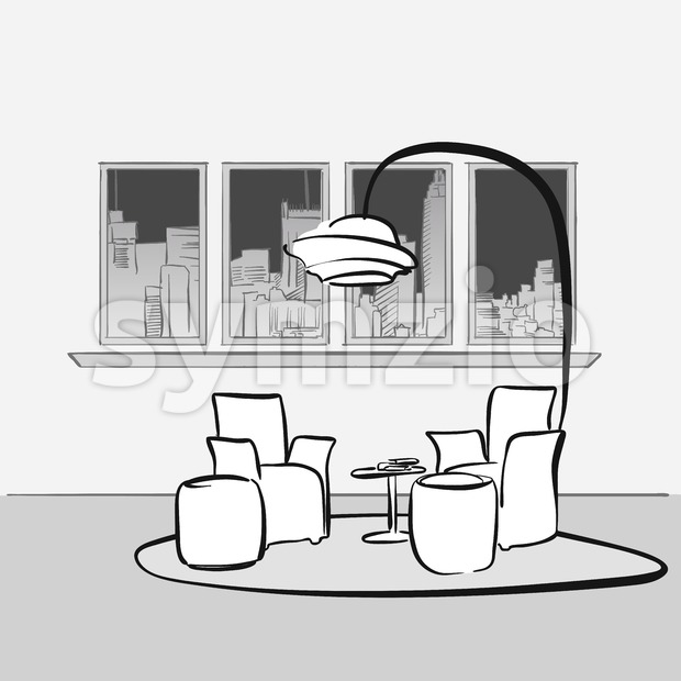 Sketched Interior lounge space. Hand drawn vector illustration. Series of sketched business backgrounds.