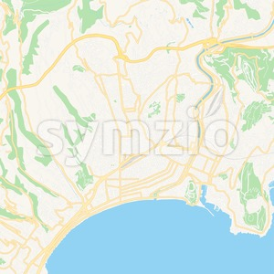 Nice, France Vector Map - Classic Colors Stock Vector