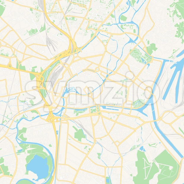 Strasbourg, France Vector Map - Classic Colors Stock Vector