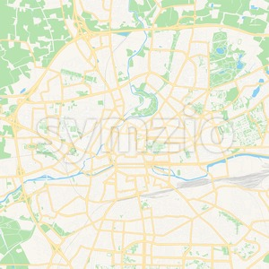 Rennes, France Vector Map - Classic Colors Stock Vector