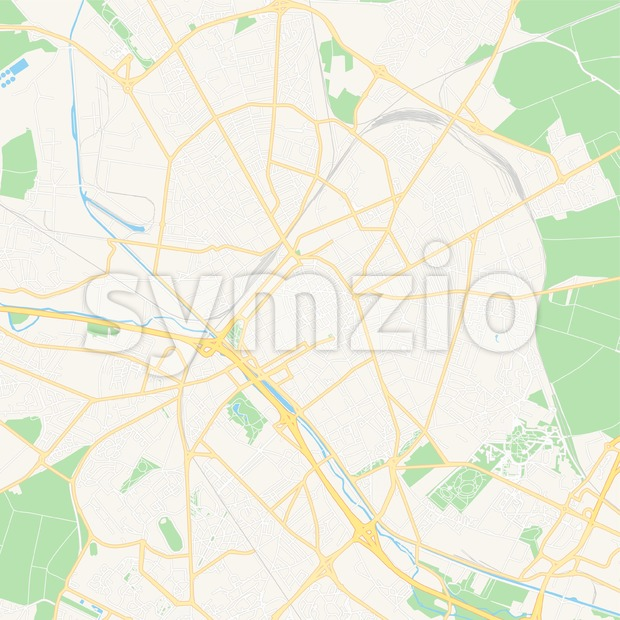 Reims, France Vector Map - Classic Colors Stock Vector