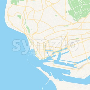Le Havre, France Vector Map - Classic Colors Stock Vector