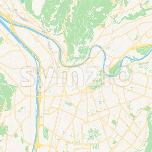 Grenoble, France Vector Map - Classic Colors Stock Vector