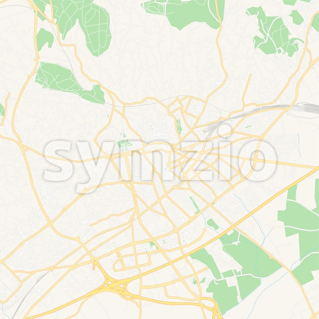 Nimes, France Vector Map - Classic Colors Stock Vector