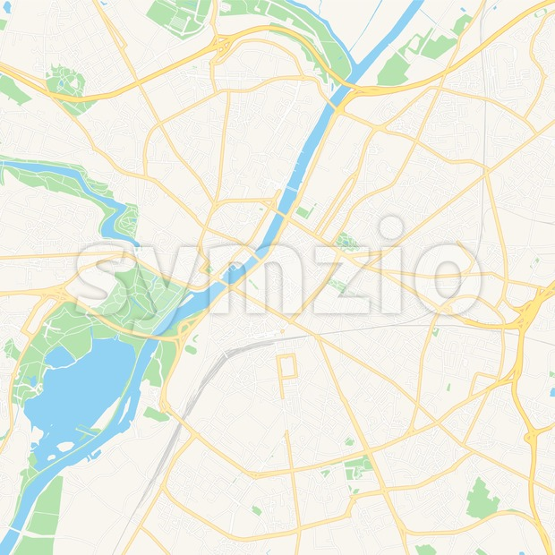 Angers, France Vector Map - Classic Colors Stock Vector