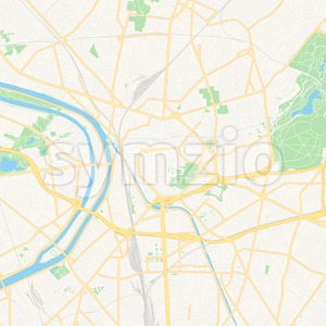 Saint-Denis, France Vector Map - Classic Colors Stock Vector