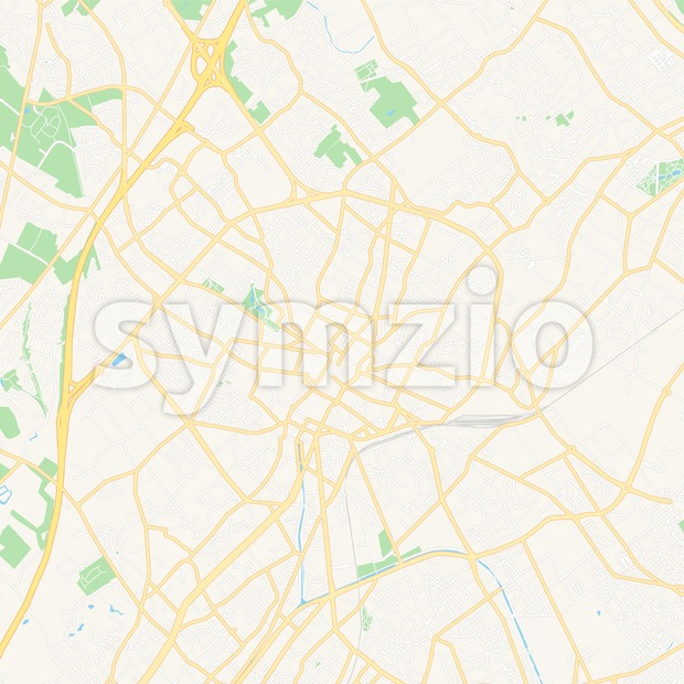 Tourcoing, France Vector Map - Classic Colors Stock Vector
