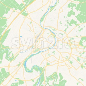 Poitiers, France Vector Map - Classic Colors Stock Vector