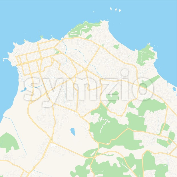 Cayenne, France Vector Map - Classic Colors Stock Vector