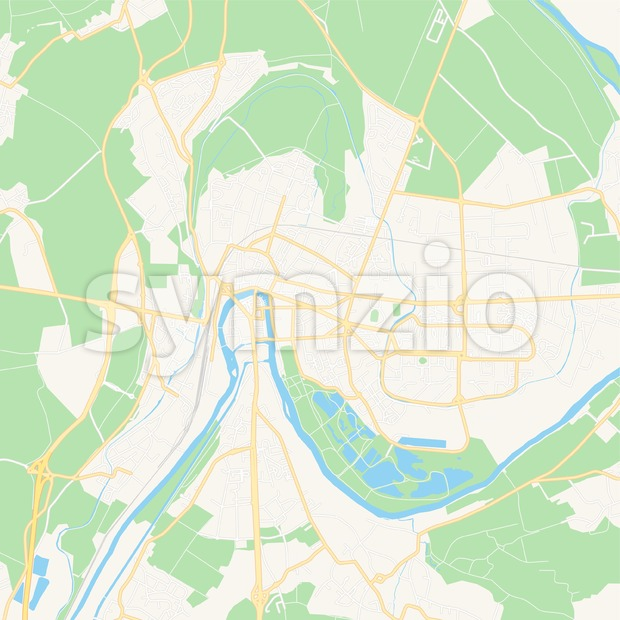 Meaux, France Vector Map - Classic Colors Stock Vector