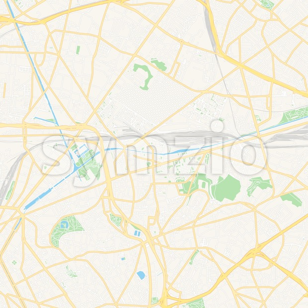 Pantin, France Vector Map - Classic Colors Stock Vector