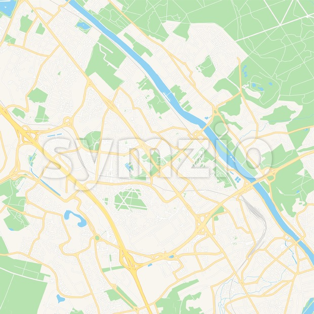 Evry, France Vector Map - Classic Colors Stock Vector