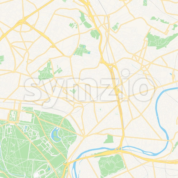 Fontenay-sous-Bois, France Vector Map - Classic Colors Stock Vector