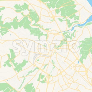 Saint-Brieuc, France Vector Map - Classic Colors Stock Vector
