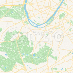 Meudon, France Vector Map - Classic Colors Stock Vector