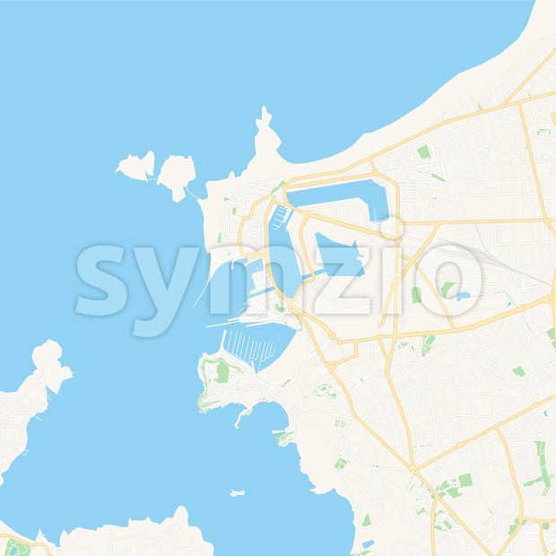 Saint-Malo, France Vector Map - Classic Colors Stock Vector