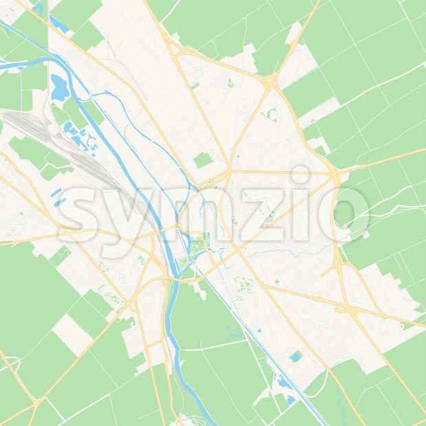 Chalons-en-Champagne, France Vector Map - Classic Colors Stock Vector