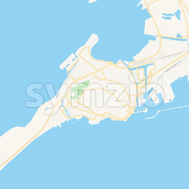 Sete, France Vector Map - Classic Colors Stock Vector