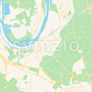 Poissy, France Vector Map - Classic Colors Stock Vector