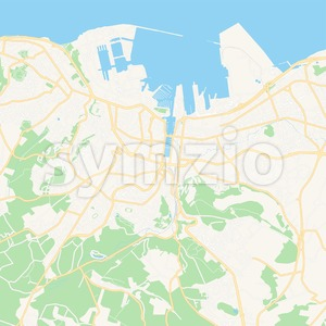 Cherbourg-Octeville, France Vector Map - Classic Colors Stock Vector