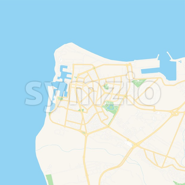 Le Port, France Vector Map - Classic Colors Stock Vector