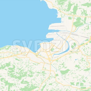 Koper, Slovenia Vector Map - Classic Colors Stock Vector