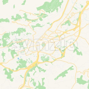 Oviedo, Spain Vector Map - Classic Colors Stock Vector
