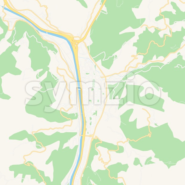 This printable Mieres, Spain Vector Map - Classic Colors with major and minor roads is carefully designed for routing and ...
