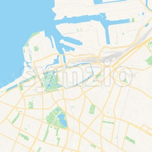 Malmo, Sweden Vector Map - Classic Colors Stock Vector