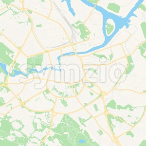 Norrkoping, Sweden Vector Map - Classic Colors Stock Vector
