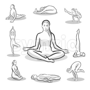 Set of Yoga Poses on white background Stock Vector