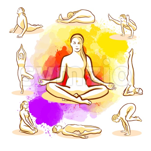 Set of Yoga Poses Stock Vector