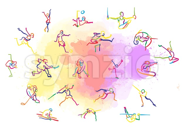 Set of Colorful Stickman Sports. Hand-drawn vector illustration, creative backdrops series.