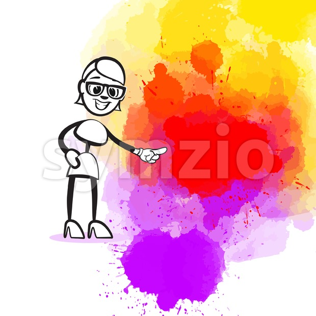 Girl Pointing to Someone. Hand-drawn vector illustration, creative backdrops series.