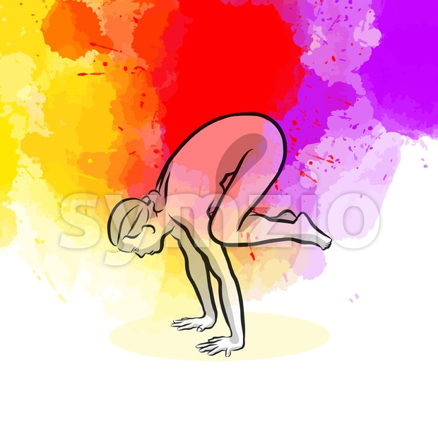 Black Crow Yoga Pose Stock Vector
