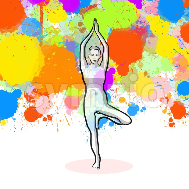 Creative tree Yoga Pose with colorful background Stock Vector