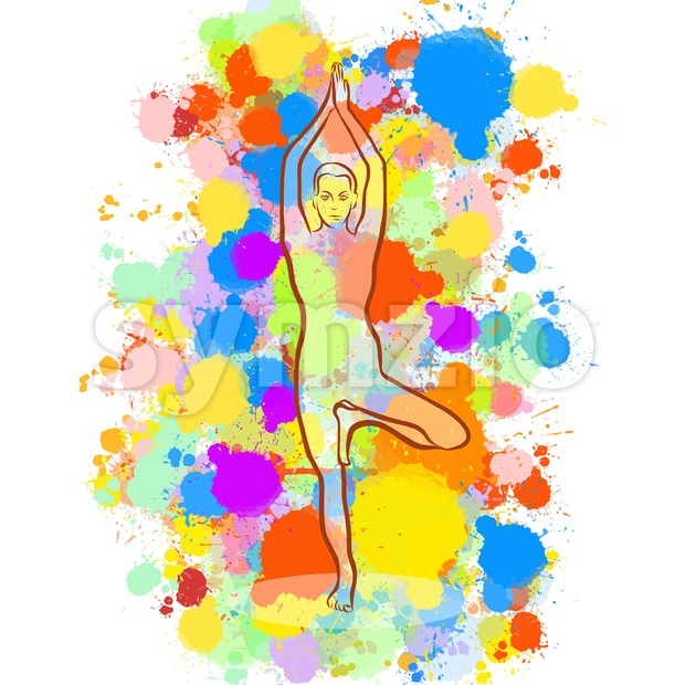 Creative tree Yoga Pose Stock Vector