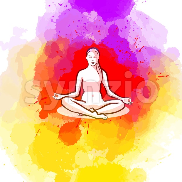 Sitting yoga pose on colorful background Stock Vector