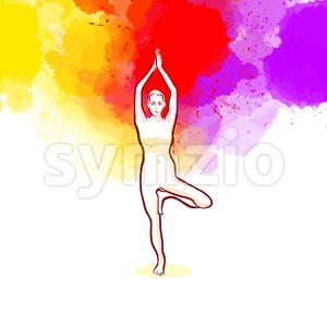 Creative Tree Pose Vrikshasana Yoga Pose Stock Vector
