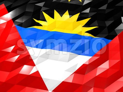 Flag of Antigua and Barbuda 3D Wallpaper Illustration Stock Photo
