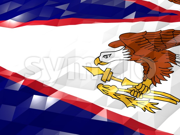 Flag of American Samoa 3D Wallpaper Illustration, National Symbol, Low Polygonal Glossy Origami Style