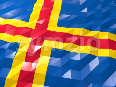 Flag of Åland Islands 3D Wallpaper Illustration Stock Photo