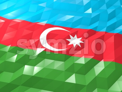 Flag of Azerbaijan 3D Wallpaper Illustration Stock Photo