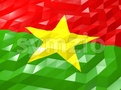 Flag of Burkina Faso 3D Wallpaper Illustration Stock Photo