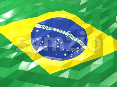Flag of Brazil 3D Wallpaper Illustration Stock Photo
