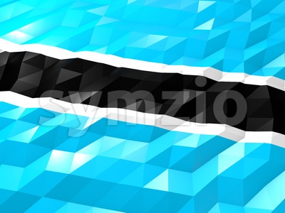 Flag of Botswana 3D Wallpaper Illustration Stock Photo