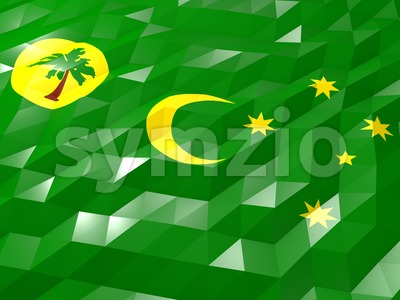 Flag of Cocos Islands 3D Wallpaper Illustration Stock Photo