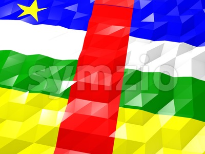 Flag of Central African Republic 3D Wallpaper Illustration Stock Photo