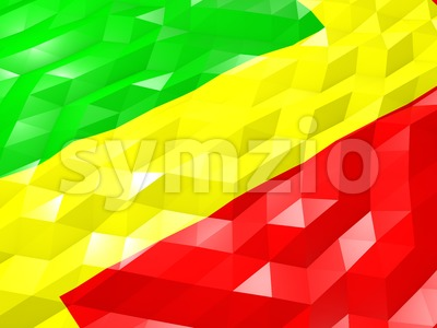 Flag of Congo 3D Wallpaper Illustration Stock Photo