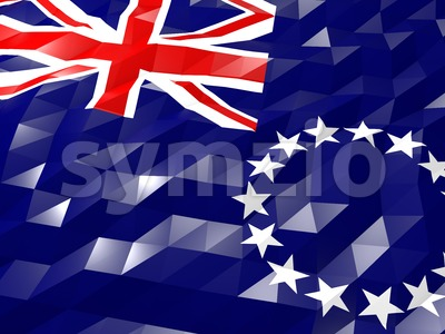 Flag of Cook Islands 3D Wallpaper Illustration Stock Photo